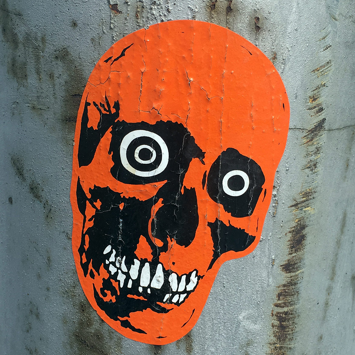orange skull sticker