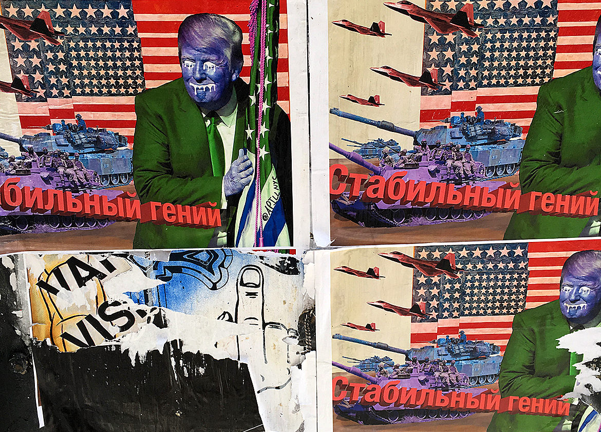 trump war paste up art