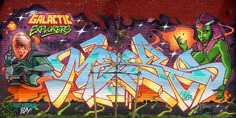 galactic explorers graffiti mural