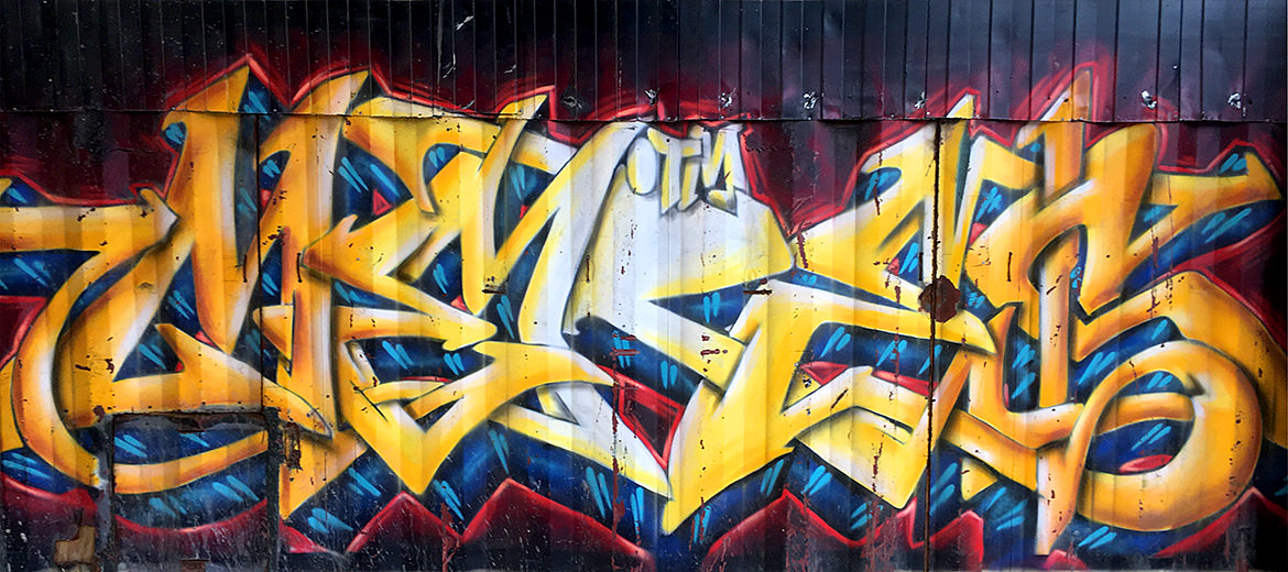 graffiti lettering on a construction site