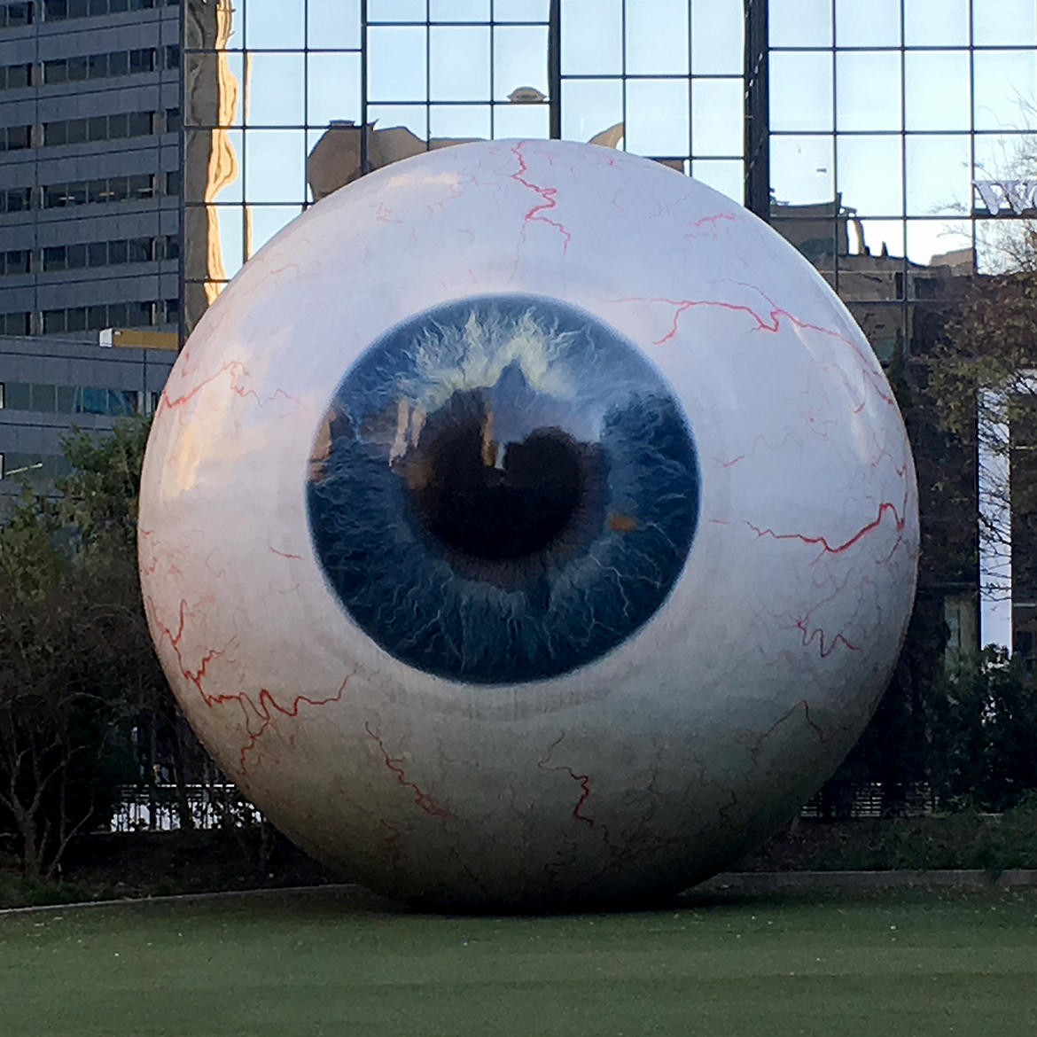 a giant fiberglass sculpture of a human eye, front view