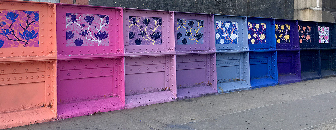 flower painting paste up on a bridge overpass