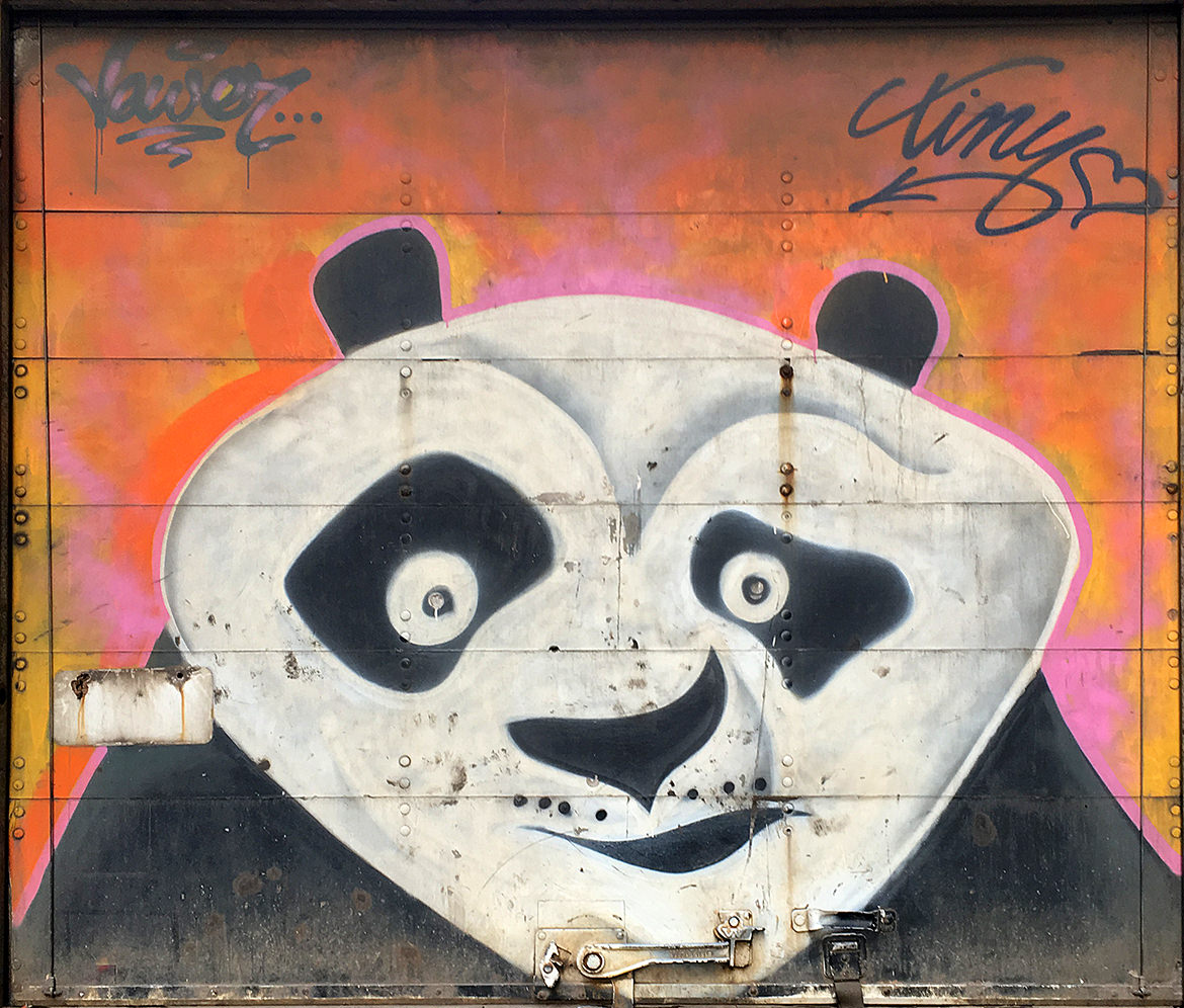 grafitti spray paint illustraton of a cartoon panda bear