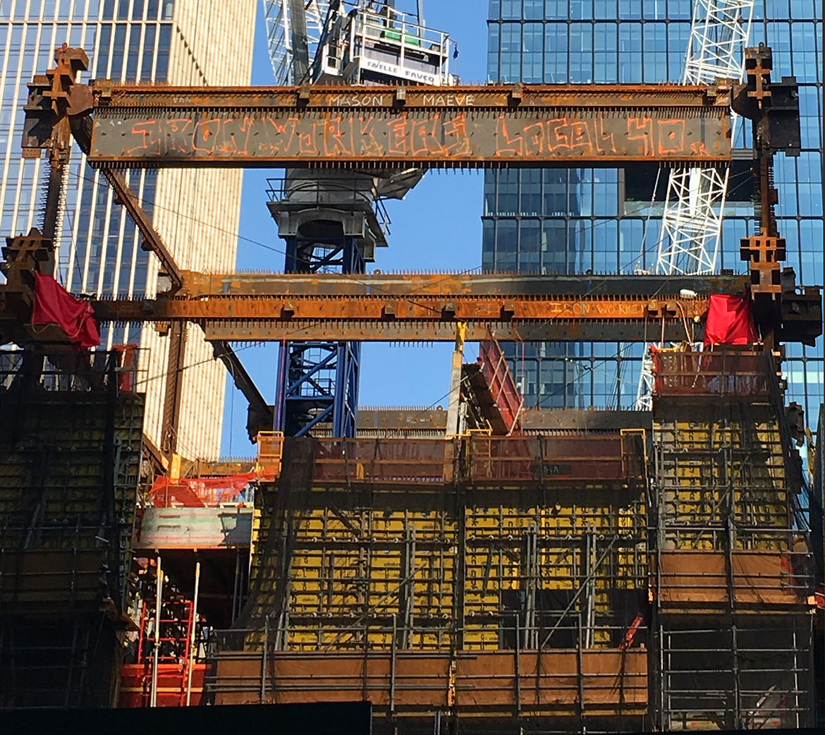 A construction site for a new skyscraper as the iron beams are fitted in place