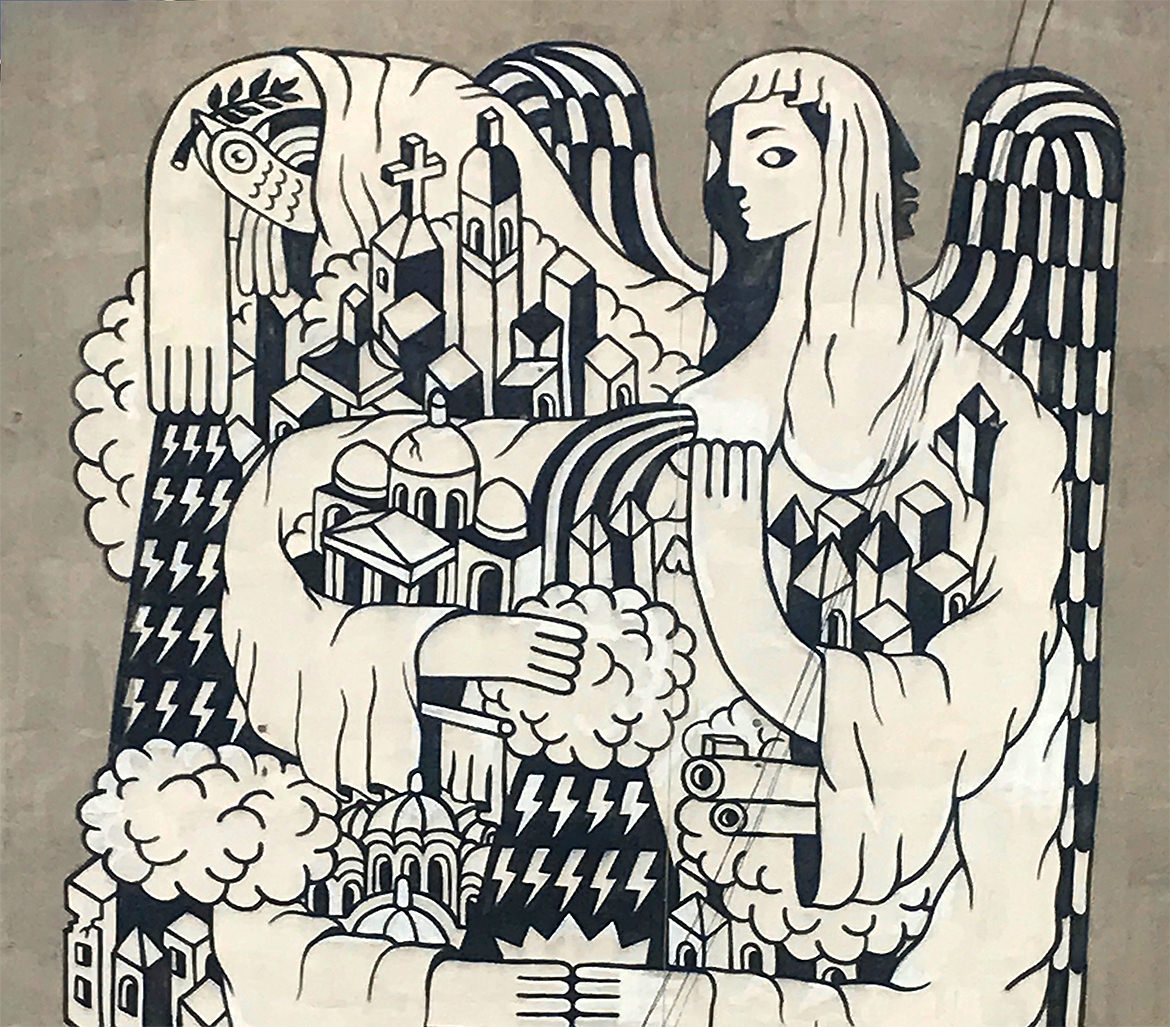 A large black and white mural painting of an angel protecting a city