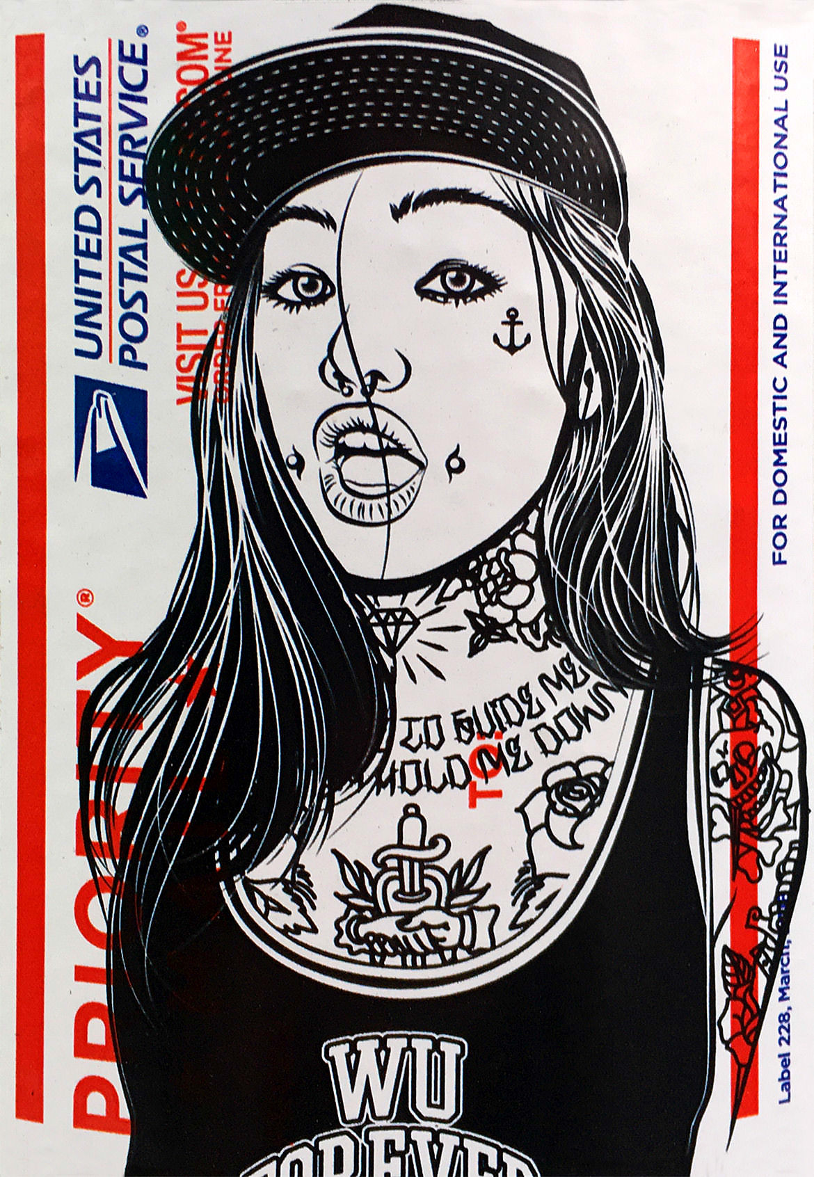 "An illustration on a post office label of a tattooed girl wearing a baseball cap and tank top which reads ""wu forever"""