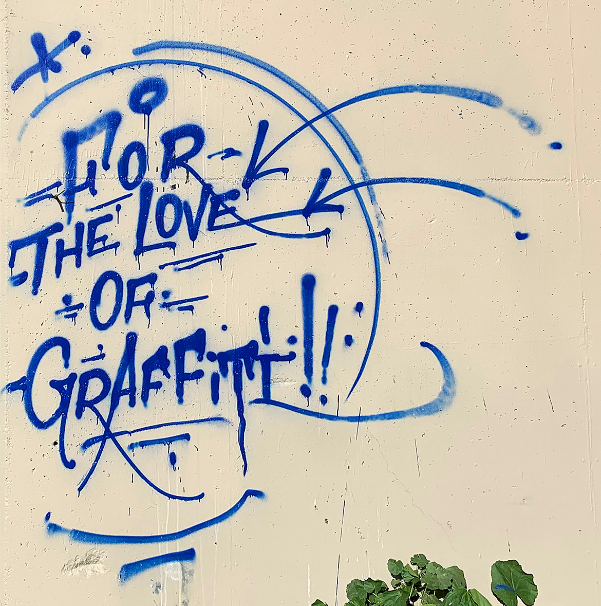 "Stylized typographic spray paint of the phrase, ""for the love of graffiti"""
