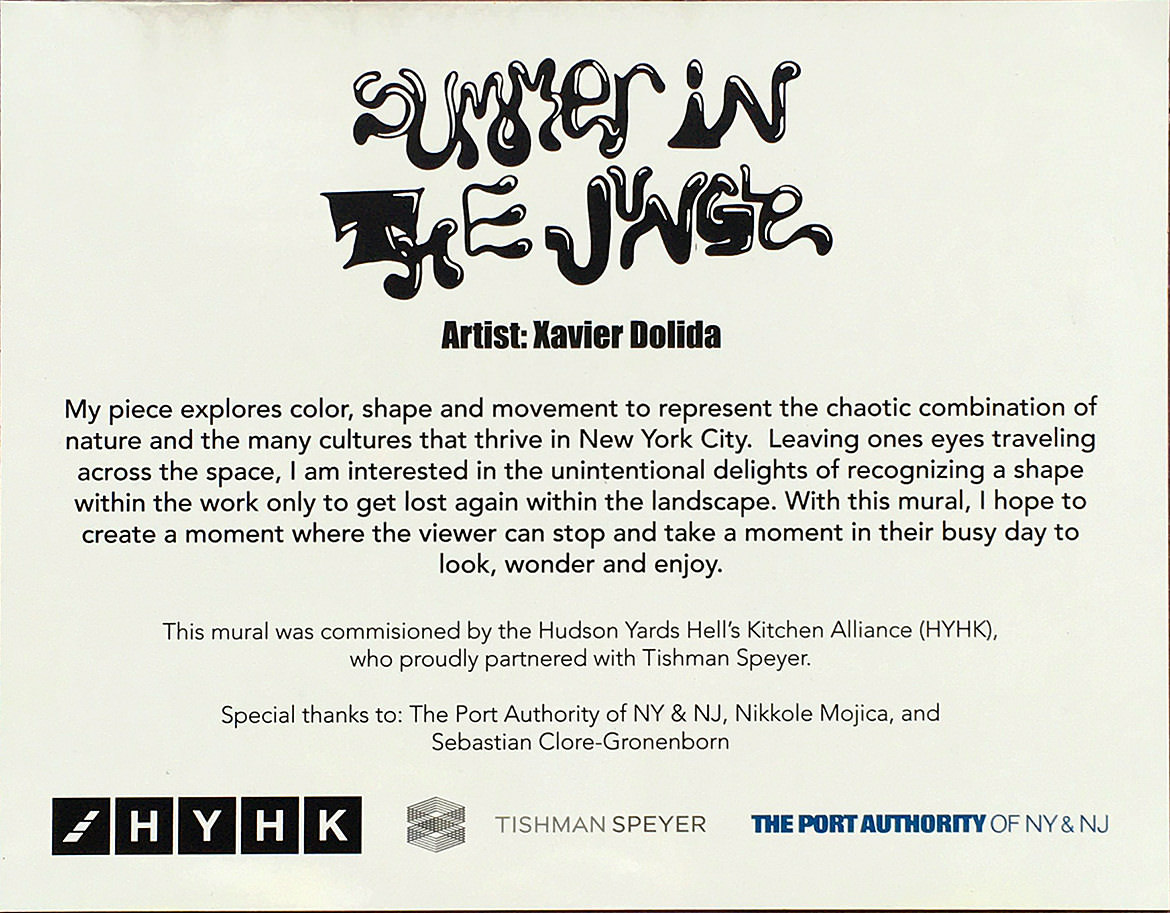 "Plaque describing the ""Summer in the Jungle"" mural"