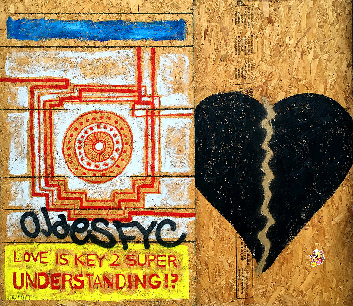 "Spray paint graffiti of a pattern and a broken black heart with the phrase, ""Love is key 2 super understanding"""