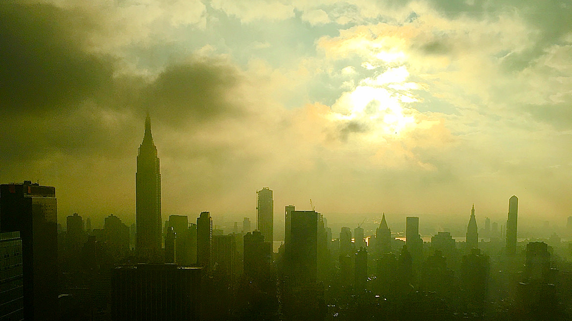 A photo of the NYC skyline in the early morning of January 2020